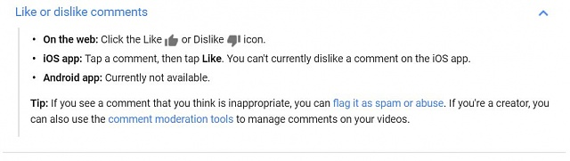 Why does the android YouTube app not show how many likes a comment got?-googlelikes.jpg