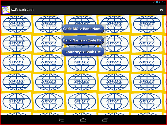 [FREE][APP]SWIFT/BIC BANK CODE : Get the code of all the BANK of the WORLD from your mobile-bicbank1.png