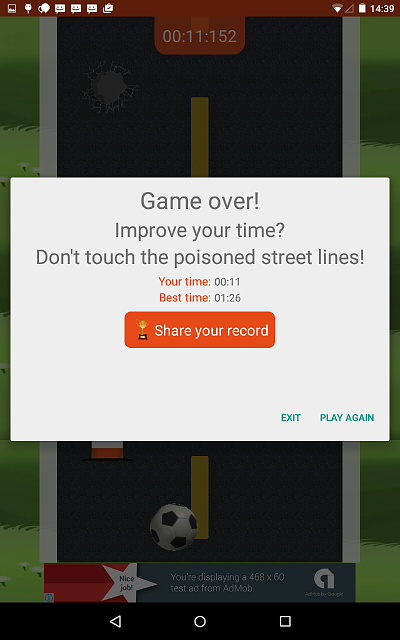 [APP] [FREE] [GAME] [ANDROID 4.0+] Roadball - Easy to play, lots of fun-gameovertab7inch.png