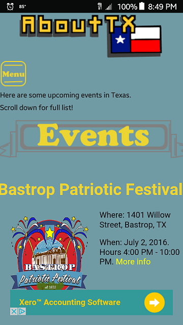 App about Texas-events-screen.png
