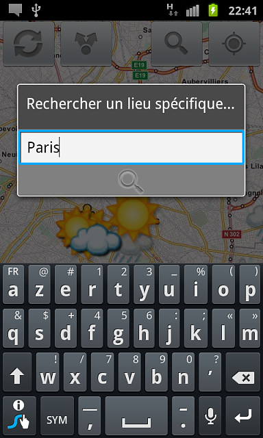 new social weather android application-snapshot_paris_search_clavier.png