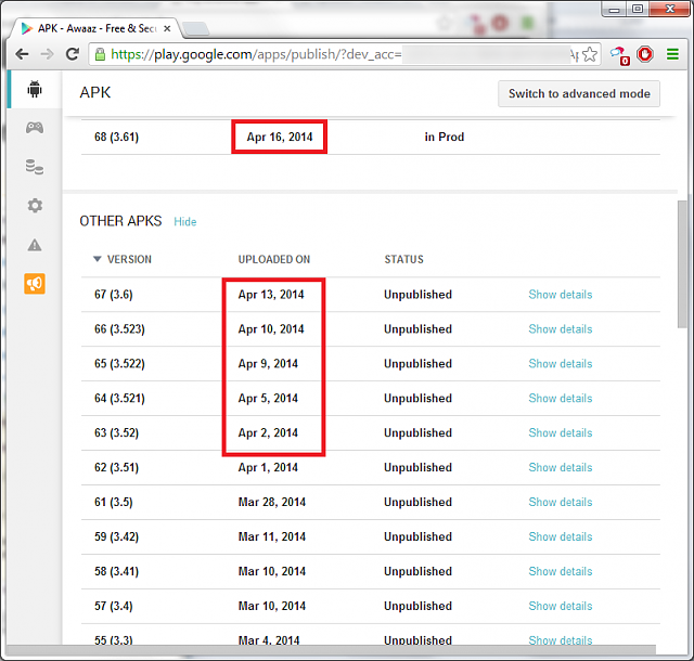 My android app is not being updated on the Google Play Store-dates.png