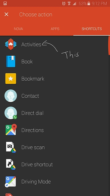 How to use the shortcut/activity gesture in Nova Launcher?  Anyone w/ coding knowledge?-screenshot_2016-01-20-21-12-55.jpg