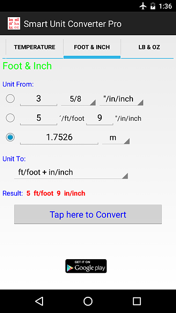 [APP][4.0+]Unit Converter - Lightweight enough (pkg size < 0.08 MB), Maximum Precision, and Clean-android-app-ft_in_2.png