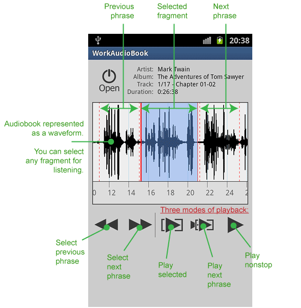 [App] Audiobook player for for language learners - WorkAudioBook-mainscreen_phone.png