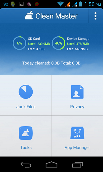 [Free App]CLEAN MASTER--Best Android App to clean junk files, boost  RAM speed, and protect privacy-clean-master-main.png