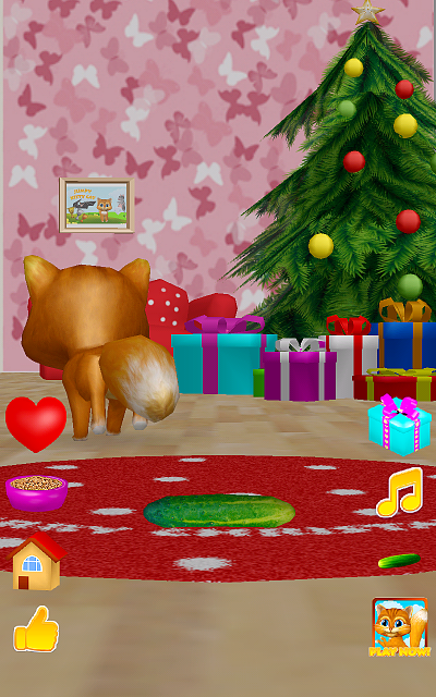 [free game][3d christmas talking cat][talk dance cucumber and presents]-device-2015-12-24-060106.png