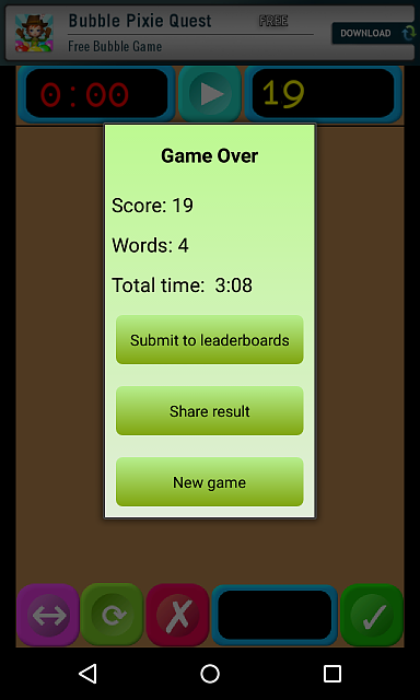 """[FREE][GAME][2.3+] Words Builder - a combination of the elements of """"Scrabble"""" and """"Jewels""""-gameover.png"""
