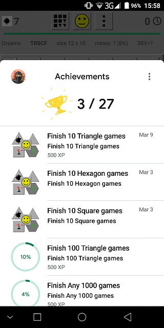 Minesweeper Dreams  - classic with square, hexagon and triangle tiles and many extra features-achievements.jpg