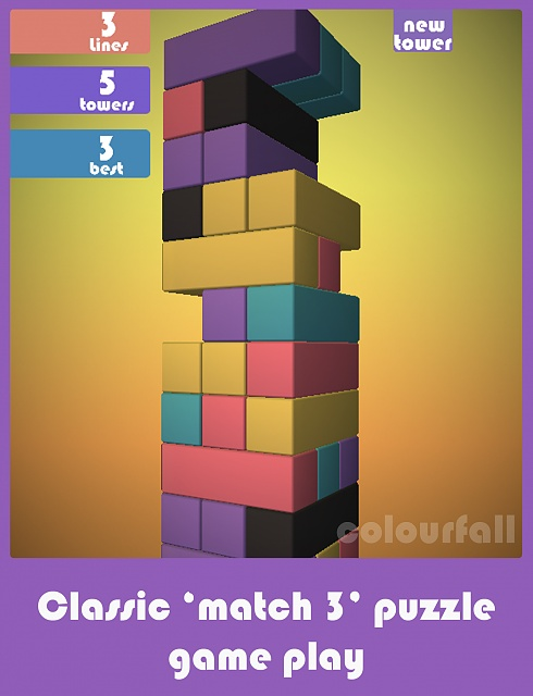 [Free][Game] Colourfall : A match 3 puzzle game -  if Jenga and Tetris had a baby.-colourfall_ipad_1.jpg