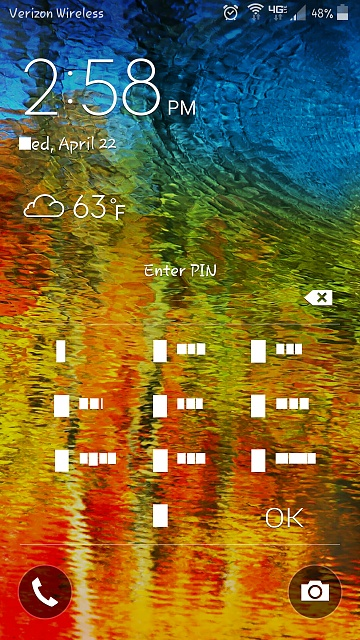 My locked screen key pad numbers are blocked in white squares, how do I get them back to black?-lock-screen-blocks.jpg