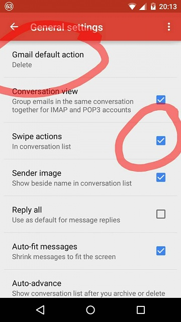 With Lollipop, I can't swipe to delete email. Why?-1429985718514.jpg