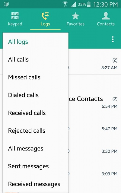 Where do I view call, message and email history of a contact