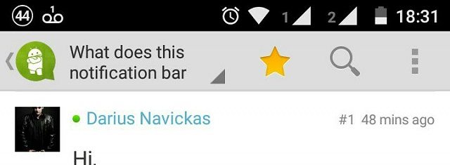 """What does this notification bar symbol mean """"∞""""?-1438119305800.jpg"""