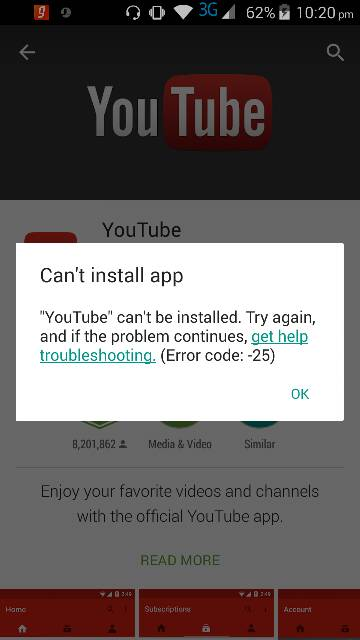 Problem installing youtube - Android Forums at