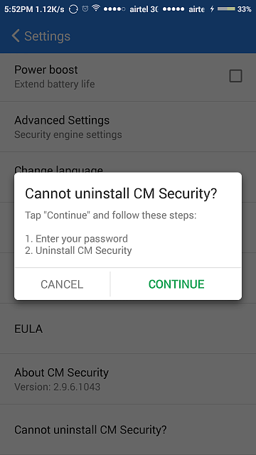 How do you uninstall CM Security? - Android Forums at AndroidCentral com