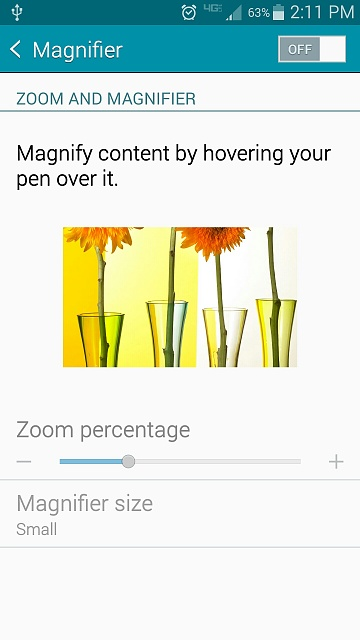 How do I open magnifier window on the Samsubg Note 5 after I