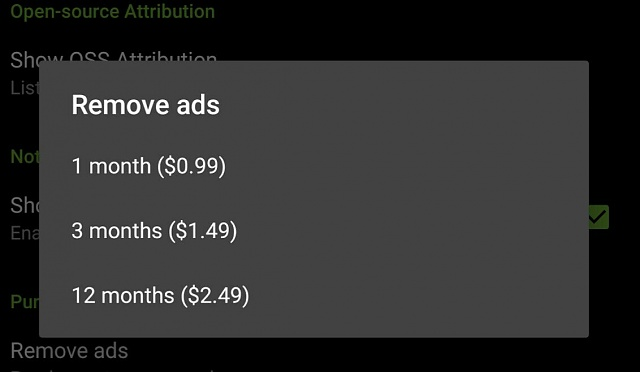 What is the subscription fee rate to eliminate ads in Android Central App?-img_20170204_161057.jpg