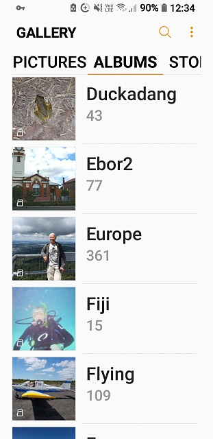 how do I change my gallery albums from list to grid view on Galaxy