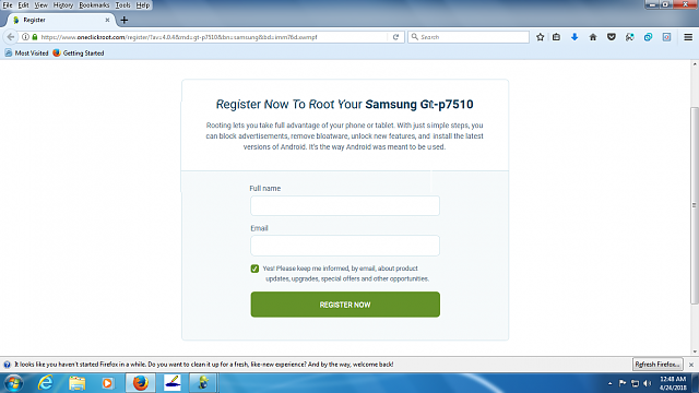 Registration problem on One Click Root site  - Android Forums at