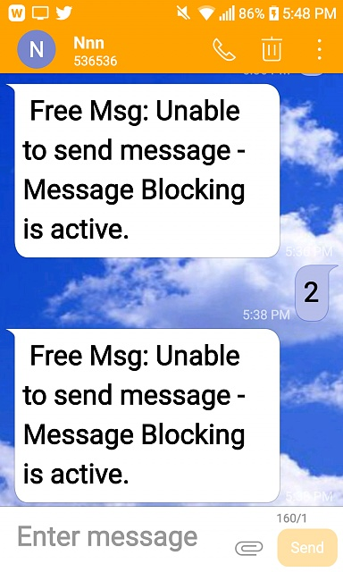 """Error: """" Free Msg: Unable to send message - Message Blocking is active"""" - Android Forums at"""