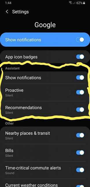 Android 9: Google Assistant Reminders always use Default