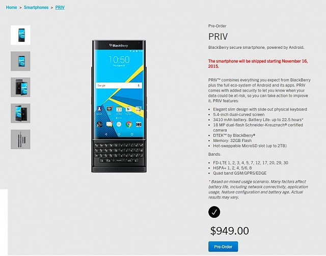 Blackberry Priv Specifications Android Forums At