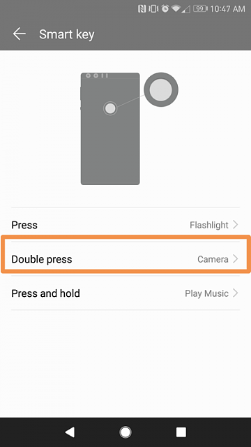 Quickly launch the Honor 8 camera using fingerprint scanner or volume down button-smart-key-options.png