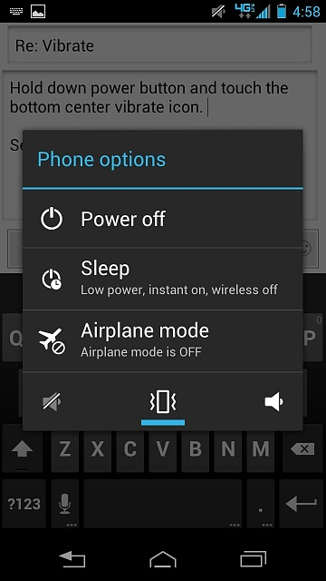 how to turn vibrate on alcatel pop