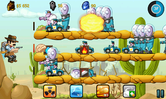 Cowboy Jed, the last hero on the Earth, is on Google Play-screen_gameplay_800x400_1.png