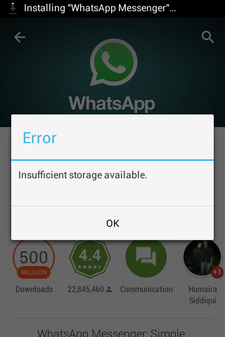 Cant Install Whatsapp Quot Insufficient Storage Available