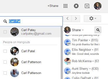 New Google Voice Text from Hangouts Searches Email & Google
