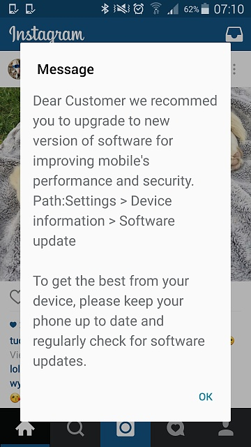 Is this software update information message legitimate? - Android