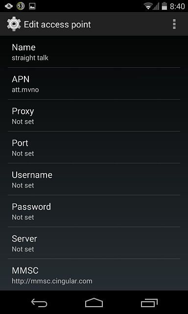 """for """"Apn Settings For Internet And Mms For Straight Talk For At"""