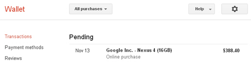 New Nexus 4 purchase: Anyone get a shipping notification or tracking number?-pending_wallet.jpg