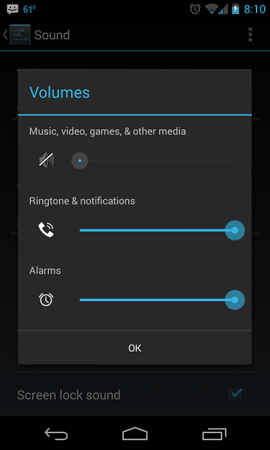 Music and media volume control  Stuck on silent? - Android