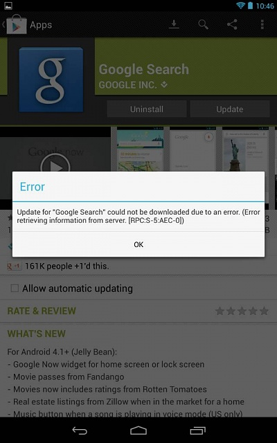 Google Play Error Message Android Forums At