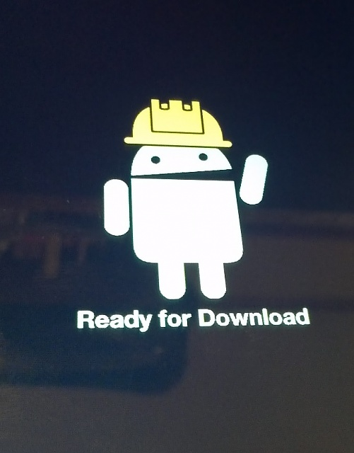 "Tablet displaying Android with a yellow hard hat ""Wait for ..."