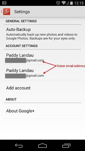Confusingly, my GMail account is listed twice in Google+ on Android phone-screenshot_2014-03-25-12-15-45.jpg