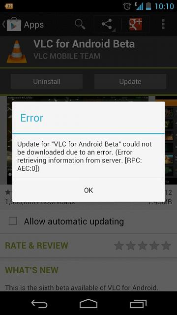 Error updating apps android