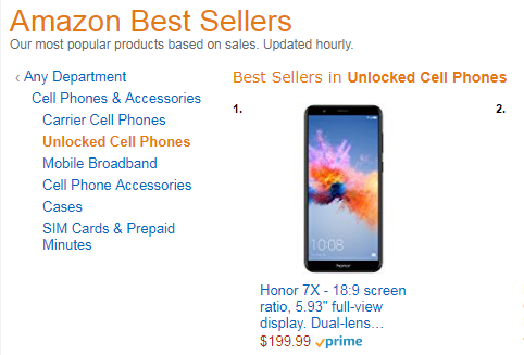 Honor 7x is #1 Best Seller in Unlocked phones on Amazon-best-seller.png