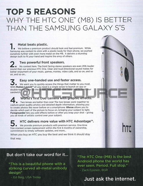 HTC One (M8) sales doc leaked - Shows 5 reasons why you should get the M8 over an S5.-onem8sales.jpg