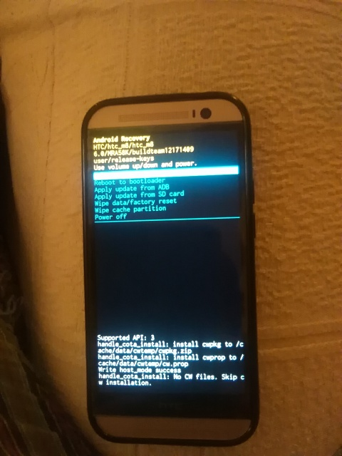 HTC One M8 Stuck in Android Recovery after marshmallow update