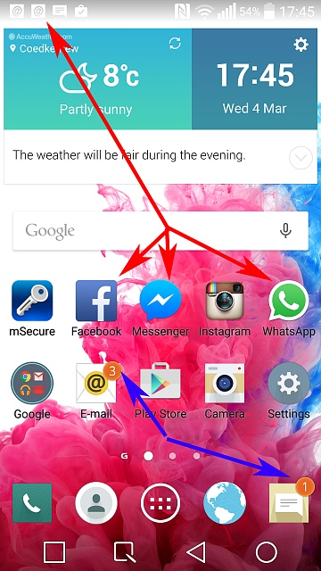 Facebook and Whatsapp NOT showing number of notifications on Icon only in the status bar.-home-screen-shot-arrows.jpg