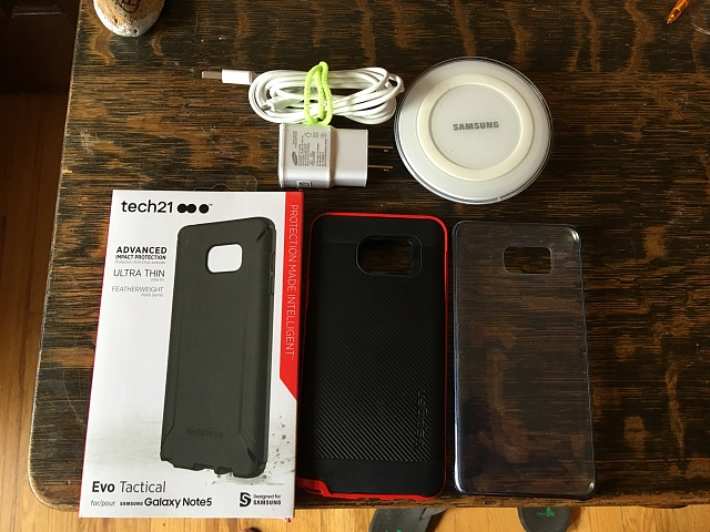 Samsung Galaxy Note 5 cases and wireless charger, tech 21, spigen-img_0077.jpg