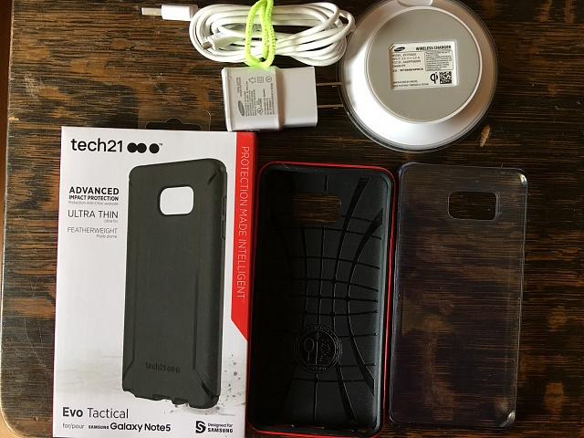 Samsung Galaxy Note 5 cases and wireless charger, tech 21, spigen-img_0078.jpg