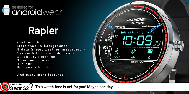 WatchFace] Rapier Watch Face - with Free & Premium features
