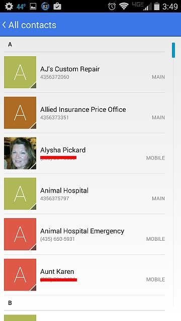 Contact List  Different Views Problem  Android Forums At