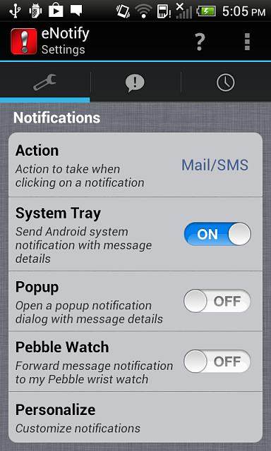 [Android][iOS] eNotify: Email filtering for pebble watches-settings-2.png