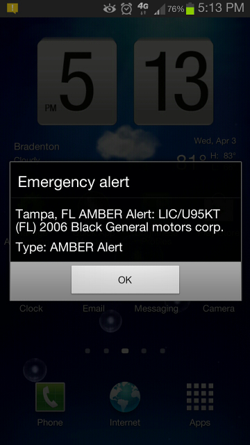 Emergency Amber Alert Message On Lockscreen Amp Yellow Icon